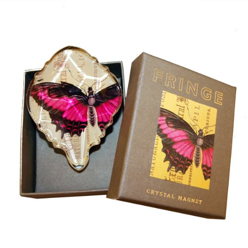Butterfly Wings Postcard - Fringe Crystal Glass Decoupage Magnet - Papilio