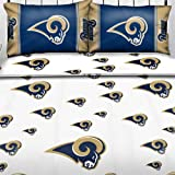 NFL St. Louis Rams Logo Full Sheets - 4pc Football Bedding Full-Double Bed