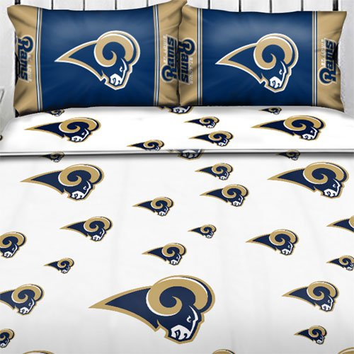 NFL St. Louis Rams Logo Full Sheets - 4pc Football Bedding Full-Double Bed by NFL