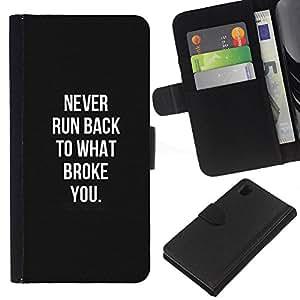 KLONGSHOP // Tirón de la caja Cartera de cuero con ranuras para tarjetas - blanco negro violencia recuerdo herido - Sony Xperia Z1 L39 //