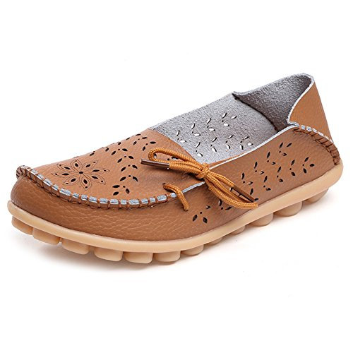 SCIEU Women's Lace Up Leather Loafers Casual Slip-On Driving Moccasins Flats Shoes Light Brown 2 9r0Ws2YvS