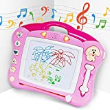 iFixer Magnetic Drawing Board, Musical Light Doodle Board Gift for Kids Girl with Sound, Pink