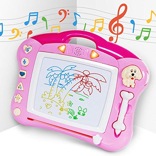 (iFixer Magnetic Drawing Board, Musical Magna Doodle Writing Drawing Color Board with Light and Music Great Gift Presents For Boys Girls 2+, Pink With)