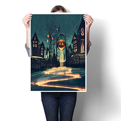 Panels Wall Art Waves Painting on Canvas Halloween Theme Night Pumpkin and Haunted House Ghost Town Artful Paintings for Home Decorations,24