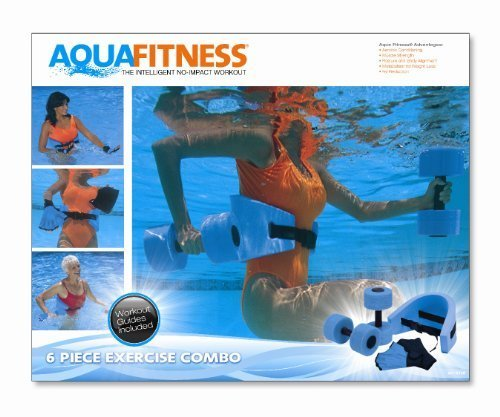 Aqua Fitness Exercise Set - 6 Piece Set - Water Workout and Aerobics - Floatation Belt, Resistance Gloves, Barbells by Aqua Leisure by Aqua Leisure by Aqua Leisure-Domestic Toys