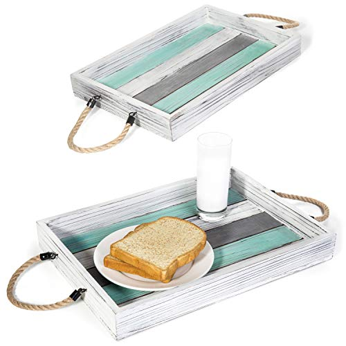 Cheap MyGift Rustic Multi-Color Wood Nesting Serving Trays with Rope Handles, Set of 2