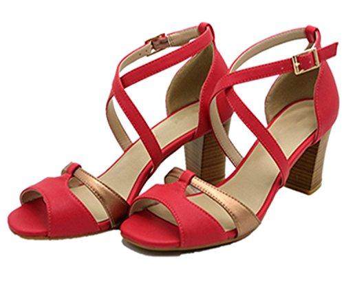Partito Caviglia Scarpe Block Ladies Sandali Rosso Da Tacco Ecollection Cinturino Womens Strappy Basso Sera Alla qgvwROz
