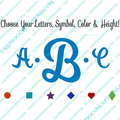 Customizable Clean Cursive Bold Dot Monogram Vinyl Decal - P
