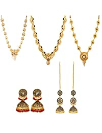 Wedding Gifting Combo of South Indian Necklaces and Earrings Ethnic Wear by GoldNera