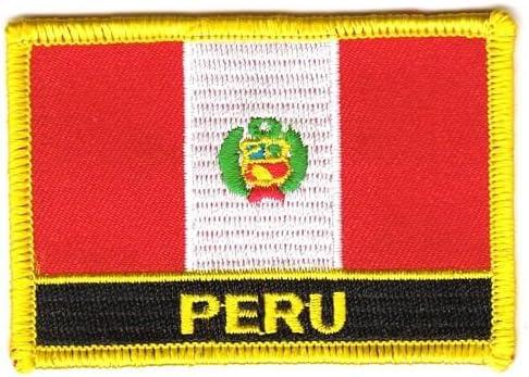 Aufn/äher Patch Peru Schrift Fahne Flagge FLAGGENMAE/®
