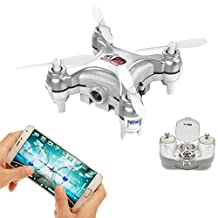 WiFi & Remote Controlled Mini Quadcopter, Volarvin® - Super Micro Quadcopter RC Drone, Camera Led Lights & Remote 2.4G 4 Channel 3D Gyro 6 Axis with 360 Stunt Spin Flips (Only 4.5x4.5x2.5cm) in Silver
