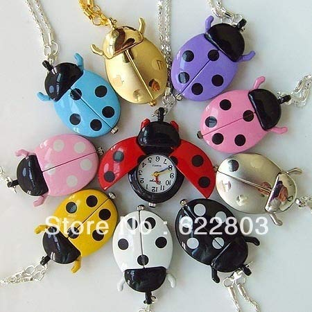 - Fashion Cute Ladybug Quartz Pocket Watch Necklace 10 Color | Men's Pocket Watches