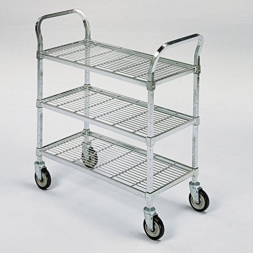 (Square-Post Wire Utility Carts with Rubber Casters, 48