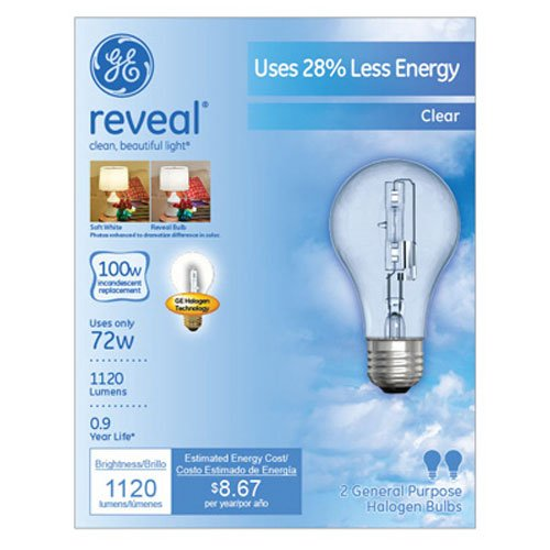 GE Lighting 62618 Reveal Clear 72-Watt (100-watt replacement) 1120-Lumen A19 Light Bulb with Medium Base, 2-Pack