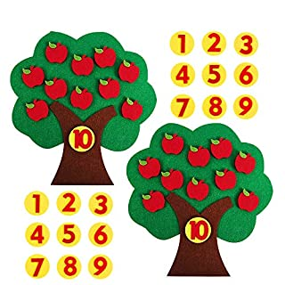 PAKESI Apple Toy Tree,Educational Apple and Number Matching Toy Montessori Math Toy for Kids Learning Numbers