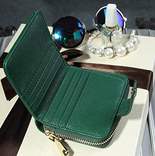 Sannysis mujer cremallera bolsillo moneda monedero cartera tarjeta crédito (Verde) Verde