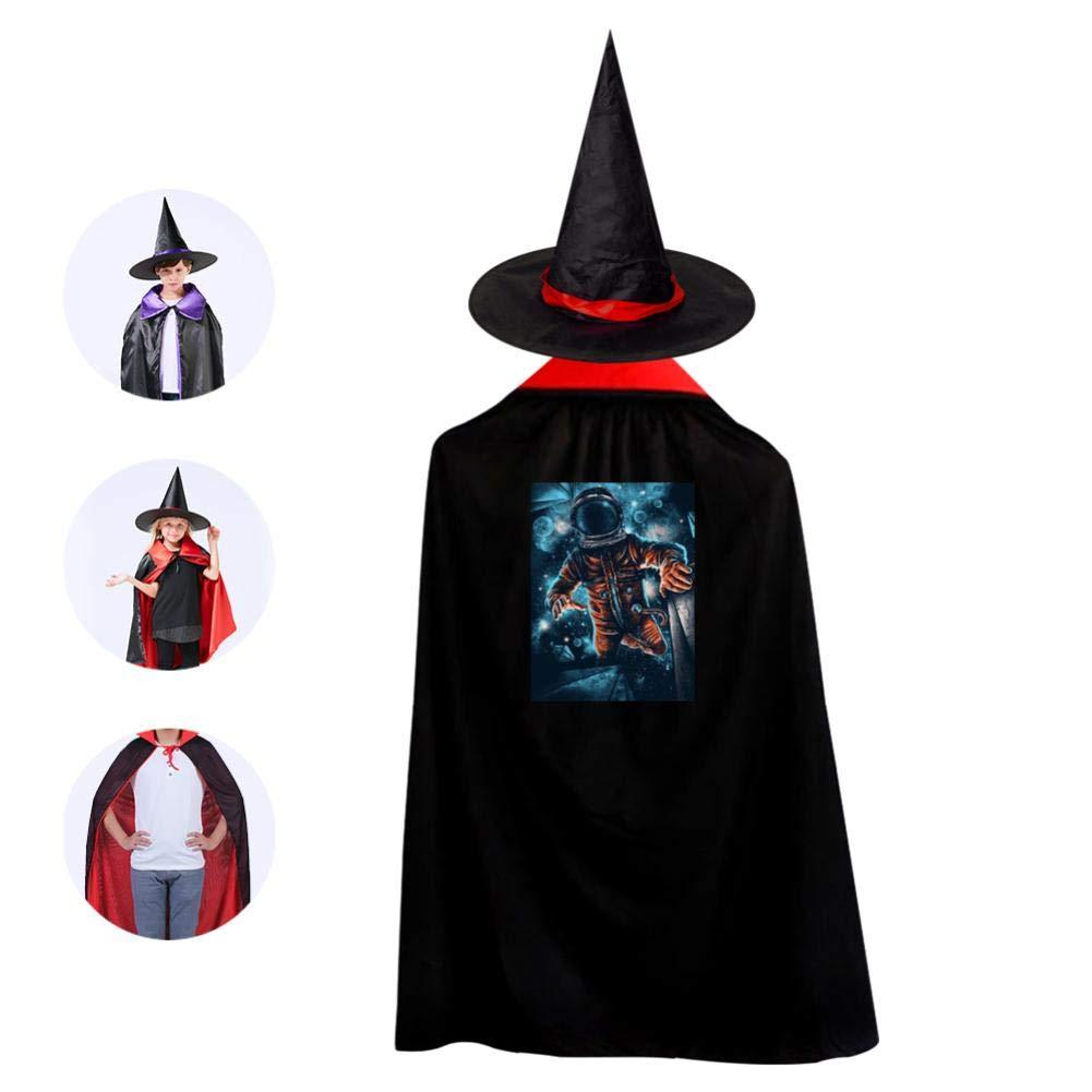Children'S Halloween Cloak Wizard Cap Suit Unisex Print Space Man Red