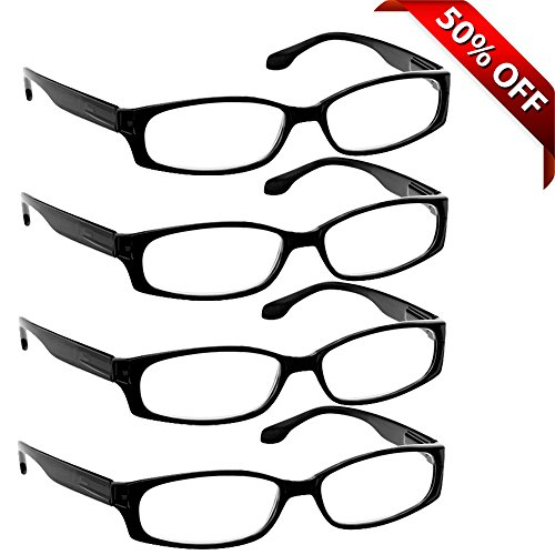 Reading Glasses for Men and Women - 4 Pack Black - Stylish Look with Sure-Flex Comfort Spring Arms & Dura-Tight Screws - 100% Guarantee - Optics Titanium Personal Reading Glasses