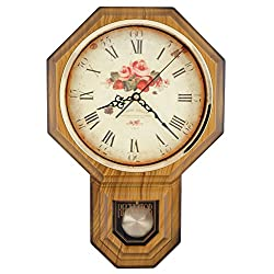JUSTIME Vintage Rose Classic Traditional Schoolhouse Pendulum Wall Clock Chimes Every Hour With Westminster Melody Made in Taiwan, 4AA Batteries Included (PP0258-F-LW Light Wood Grain)