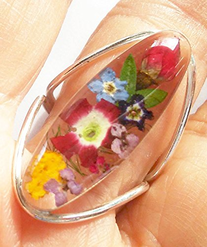 Silver 925 dried pressed flower ring multi-colors long oval