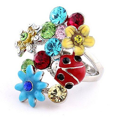 Superhai Ladybug Alloy Enamel Flower Ring Diamond Ring