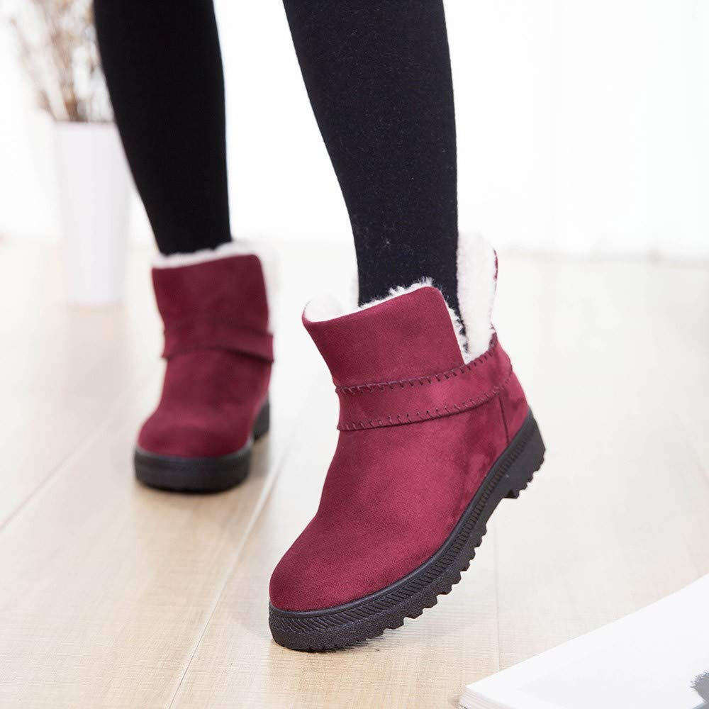 b00df79e069b Gyoume Women Winter Slip On Boots Ankle Boots Keep Warm Boots Shoes Flat  Snow Short Boots