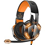 VersionTech G2000 Stereo Gaming Headset for Xbox one PS4 PC, Surround Sound Over-Ear Headphones with Noise Cancelling Mic, LED Lights, Volume Control for Laptop Mac iPad Nintendo Switch - Orange