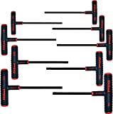 Eklind 60609 9 Piece 6'' Series Power-T T-Handle Hex Key Set with Pouch, Sizes: 5/64'' - 1/4''