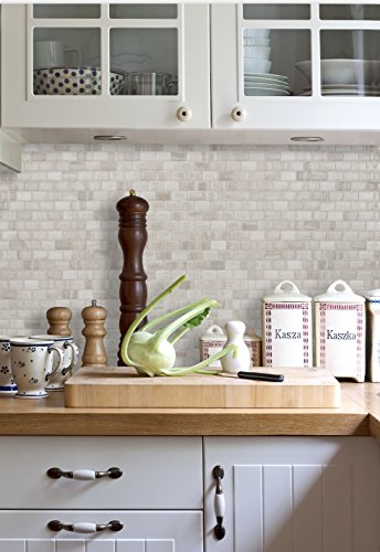 Peel and Stick Backsplash Adhesive Wall Tiles Ravenna Farro (Pack of 4)