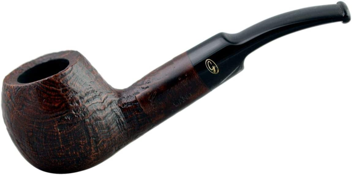 Gasparini Rustic Marrone (A buccia) Bent Apple Rustic Briar Tobacco Smoking Pipe