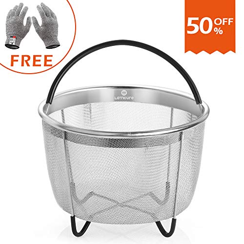 LATTCURE Insant Pot Accessories Steamer Basket 6 qt, Food Grade Stainless Steel Pressure Cooker Steam Basket for Vegetable with Silicone Handle/Non-slip Legs Fits IP InstaPot by LATTCURE (Image #8)
