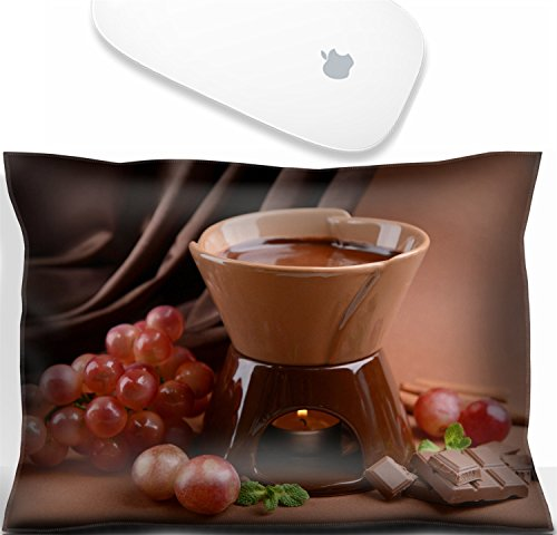 Luxlady Mouse Wrist Rest Office Decor Wrist Supporter Pillow Chocolate fondue with fruits on brown background.IMAGE: 25128503