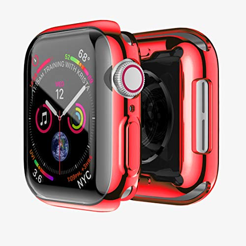 - Compatible Apple Watch Screen Protector 44mm Red Case Built-in Screen Protectors Full Front Plated Soft TPU All-Around Shockproof Bumper Smartwatch Iwatch Cover for Apple Watch Series 4