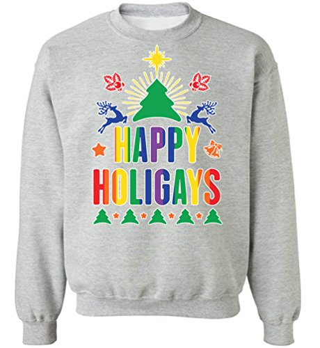 Pekatees Happy Holigays Sweatshirt Happy Holigays Sweater Gay Christmas Sweatshirts Gay Christmas Sweater Gifts for LGBT Grey M (Gay Couple Costume Ideas)