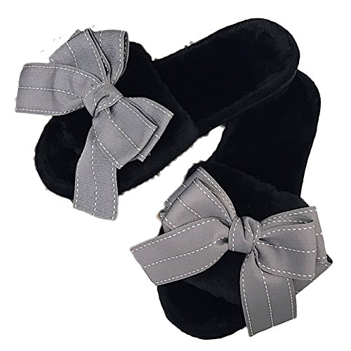 Cybling Moda Para Mujer Bowknot Piel Sintética Open Toe Zapatillas De Deporte De Invierno Zapatos Suaves Negro Gris