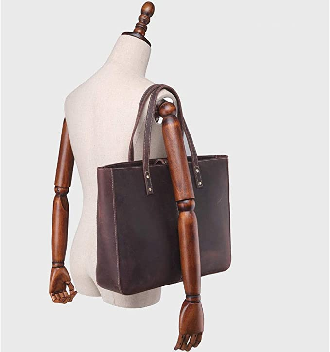 DMIZ Womens Soft Fashion Vintage Leather Tote Shoulder Bag Handbag Purse Large Capacity Casual Tote Shoulder Bags