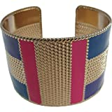 Gold and Blue/Purple/Pink Toned Brass Trendy Style Fashion Belly Dance Adjustable Cuff Indian Bracelet