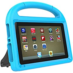 Fire 7 2017 Case, Fire 7 2015 Case, DICEKOO Light Weight Kids Shockproof Cover Friendly Convertible Handle with Stand Cases for Amazon Fire 7 inch Display Table (2015 Release & 2017 Release) (Blue)