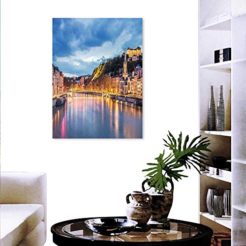 "European Wall Art Canvas Prints View Saone River in Lyon City at Evening France Blue Hour Historic Buildings Modern Wall Art Living Room Decoration 16""x20"" Multicolor"