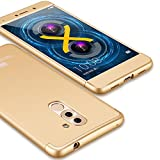 Huawei Honor 6X Case, GKK Dual Embed Ultra Slim Knight Series For Huawei Mate 9 Lite Hybrid PC [HARD] Full Protective Matte Phone Case (Gold)
