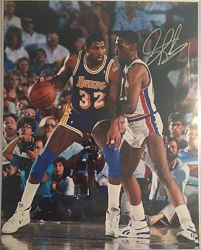 Dennis Rodman w/Magic Signed Pistons 16x20 Photo Tristar Certifiedated