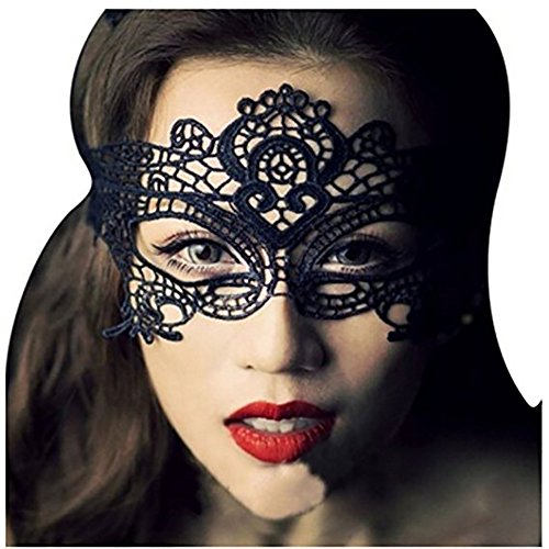 Girls Women Ball Lace Mask Catwoman Masquerade Dancing Evening Party Eye Mask Cat Halloween Fancy Dress Costume Black ()