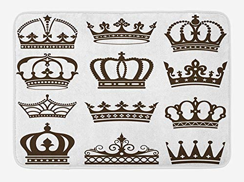 Doormats King Bath Mat, Symbol of Royalty Crowns Tiaras for Reign Queen Prince Cartoon Desgin, Plush Bathroom Decor Mat with Non Slip Backing, 23.6 W X 15.7 W Inches, Dark Green Brown White