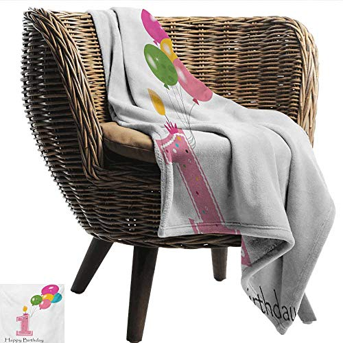 Le Jardin Candlestick - cobeDecor 1st Birthday Reversible Blanket Baby Girl Toddler Party Candlestick with Colorful Balloons Print Bedroom Warm 36