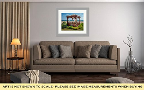 Ashley Framed Prints A Cozy Wooden Sea Bower On The Beach, Wall Art Home Decoration, Color, 26x30 (frame size), Silver Frame, AG6454249 by Ashley Framed Prints (Image #1)