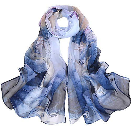 Fashion Scarfs for Women Hot Sale,DEATU Girls Floral/Lotus Printing Long Soft Wrap Scarf Ladies Shawl Scarves (Free Size, d-Blue) from DEATU