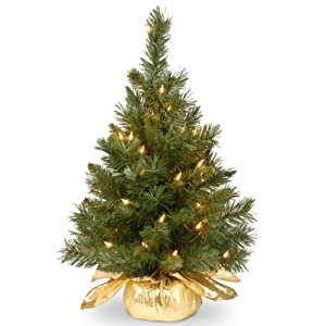 National Tree 24 Inch Majestic Fir Tree with 35 Clear Lights in Gold Cloth Bag (MJ3-24GDLO-1) 4