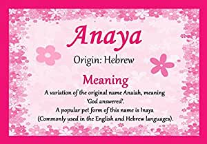 Amazon.com: Anaya Personalized Name Meaning Certificate ...