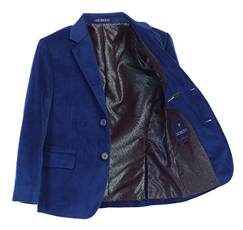 Gioberti Big Boys Formal Velvet Blazer with Designed Buttons, Royal Blue, Size 12