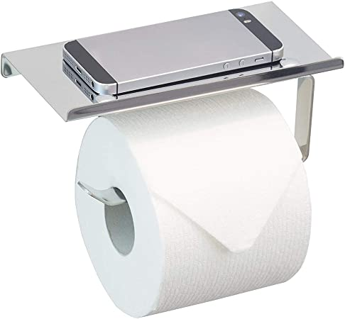 Wall-Mount Stainless Steel Toilet Paper Holder Phone Stand Bathroom Tissue Rack